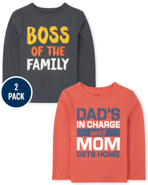 Toddler Boys Long Sleeve Family Graphic Tee 2-Pack