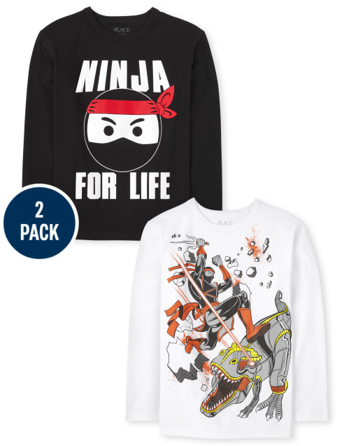 Boys Long Sleeve Ninja Graphic Tee 2-Pack