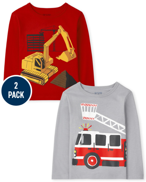 Toddler Boys Long Sleeve Firetruck and Excavator Graphic Tee 2-Pack