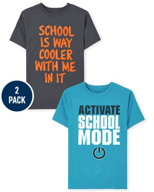 Pack de 2 camisetas estampadas escolares de manga corta para niños