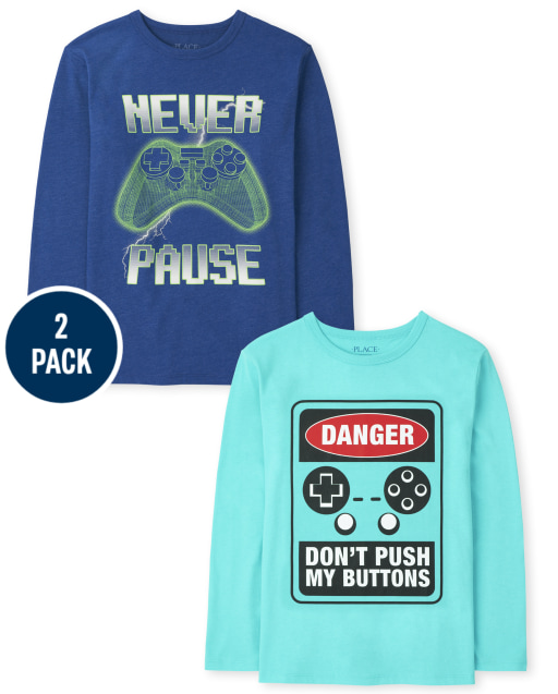 Boys Long Sleeve Gaming 'Danger: Don't Push My Buttons' and 'Never Pause' Graphic Tee 2-Pack