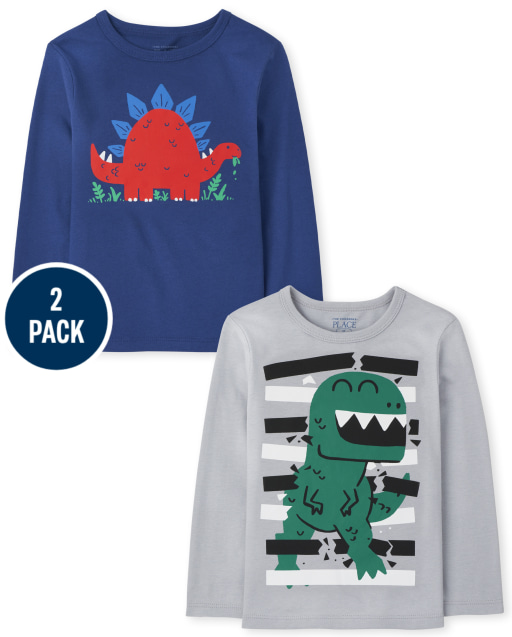 Toddler Boys Long Sleeve T-Rex and Stegosaurus Graphic Tee 2-Pack