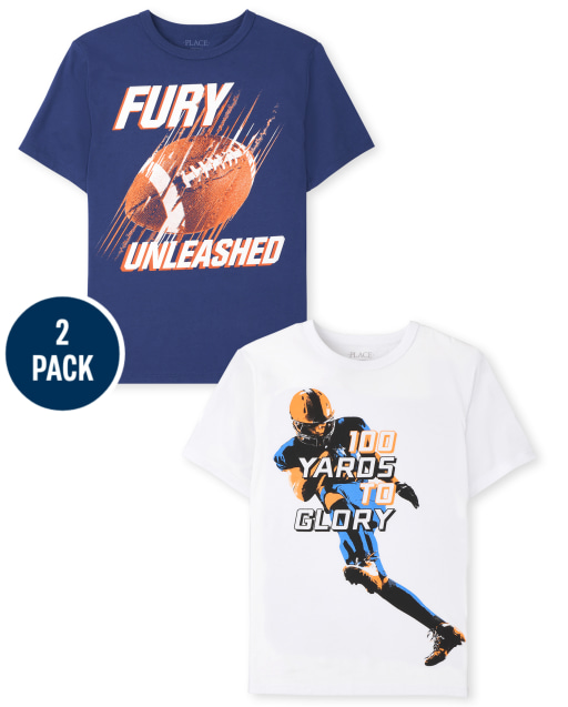 Boys Short Sleeve 'Fury Unleashed' and '100 Yards To Glory' Graphic Tee 2-Pack