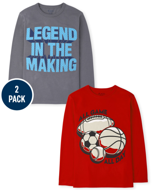 Boys Long Sleeve 'All Game All Day' and 'Legends In The Making' Graphic Tee 2-Pack