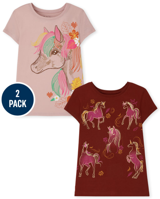 Girls Short Sleeve Posing Unicorn and Floral Unicorn Profile Graphic Tee 2-Pack