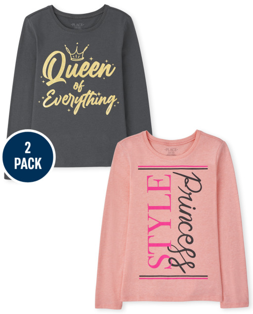 Girls Long Sleeve 'Princess Style' And 'Queen Of Everything' Graphic Tee 2-Pack