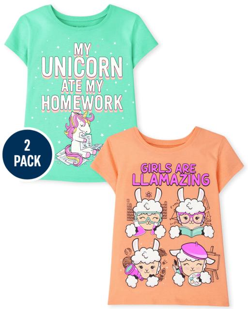 Girls Short Sleeve 'My Unicorn Ate My Homework' And 'Girls Are Llamazing' Graphic Tee 2-Pack