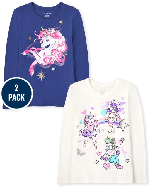 Girls Long Sleeve Dancer Gamer Space Unicorns and Unicorn Profile Graphic Tee 3-Pack