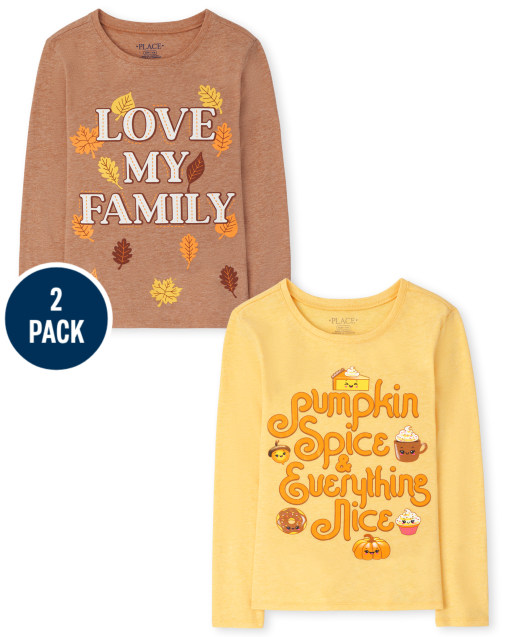 Girls Long Sleeve 'Pumpkin Spice & Everything Nice' And 'Love My Family' Graphic Tee 2-Pack