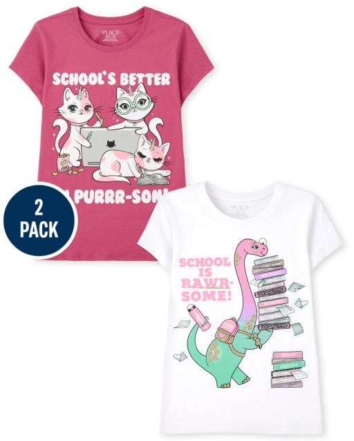 Girls Short Sleeve School Graphic Tee 2-Pack