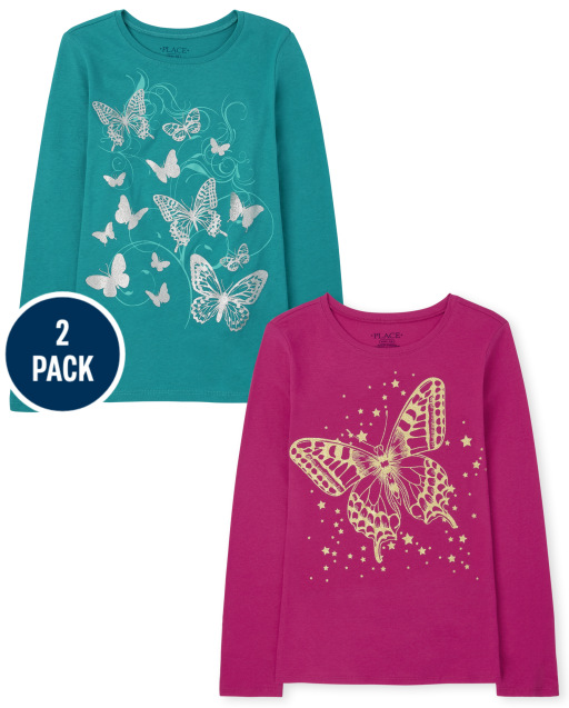 Girls Long Sleeve Butterfly Graphic Tee 2-Pack