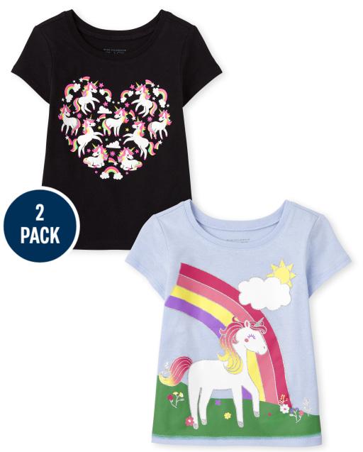Toddler Girls Short Sleeve Unicorn Graphic Tee 2-Pack