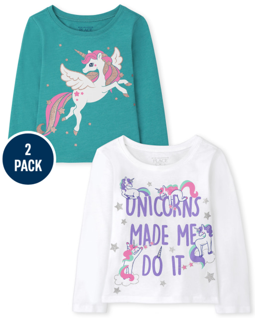 Toddler Girls Long Sleeve 'Unicorns Made Me Do it' and Flying Unicorn Graphic Tee 3-Pack