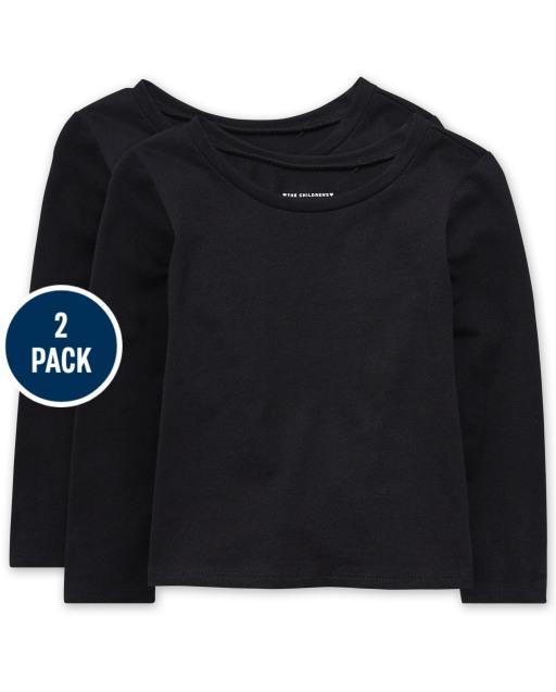 Paquete de 2 camisetas básicas de manga larga para bebés y niñas pequeñas