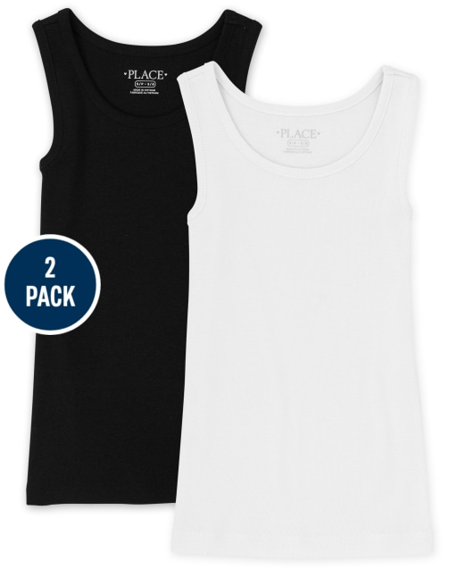 Pack de 2 camisetas sin mangas acanaladas sin mangas para niñas