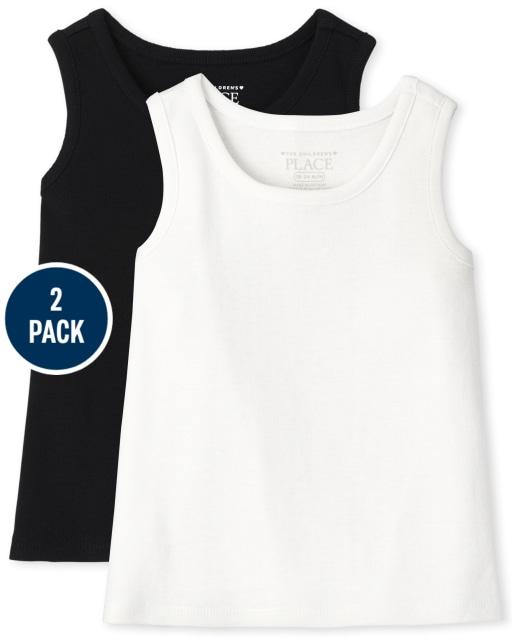 Pack de 2 camisetas sin mangas acanaladas para niñas pequeñas