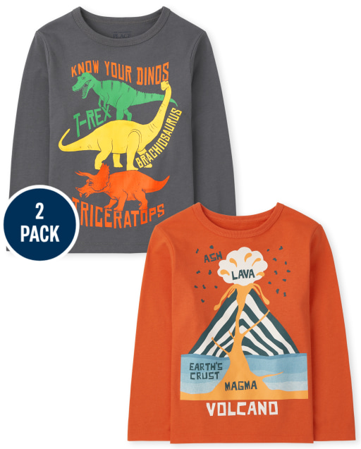 Toddler Boys Long Sleeve Dinos and Volcano Graphic Tee 2-Pack