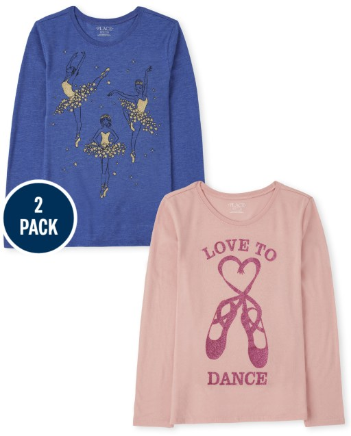 Girls Long Sleeve Ballerina and 'Love To Dance' Graphic Tee 2-Pack