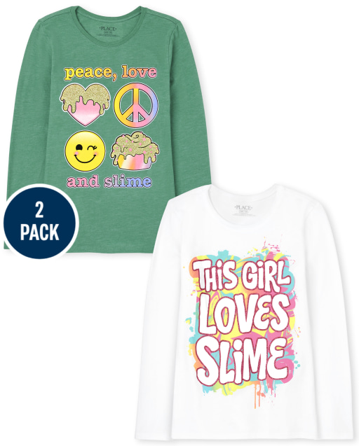 Girls Long Sleeve 'Peace, Love, And Slime' and 'This Girl Loves Slime' Graphic Tee 2-Pack