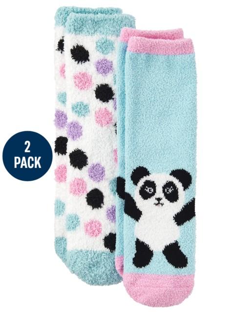 Girls Panda Cozy Socks 2-Pack