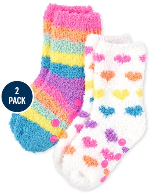 Toddler Girls Rainbow Heart Cozy Socks 2-Pack