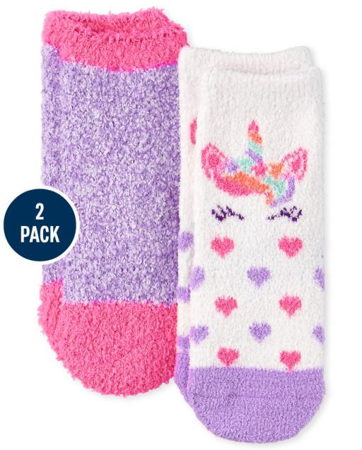 Toddler Girls Unicorn Cozy Socks 2-Pack