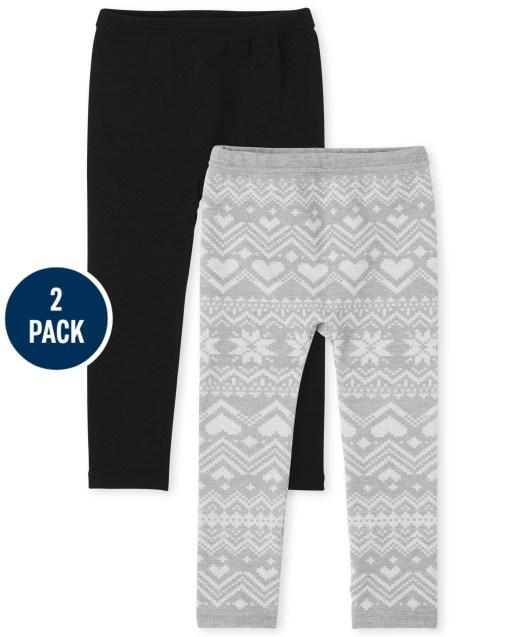 Paquete de 2 leggings con forro polar de punto liso y estampado para niñas pequeñas