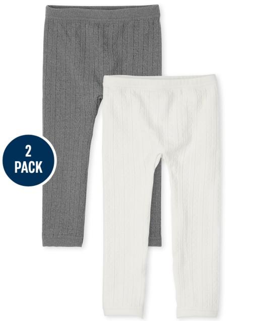 Paquete de 2 leggings con forro polar de punto trenzado para niñas pequeñas