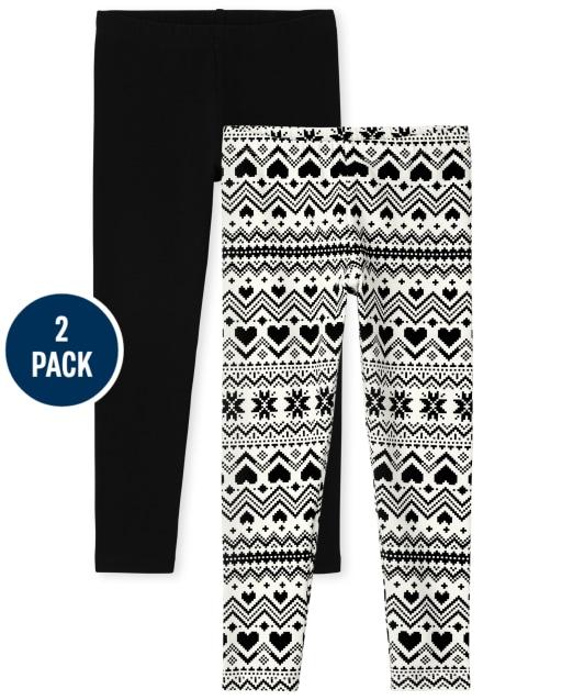 Girls Fairisle Knit Leggings 2-Pack