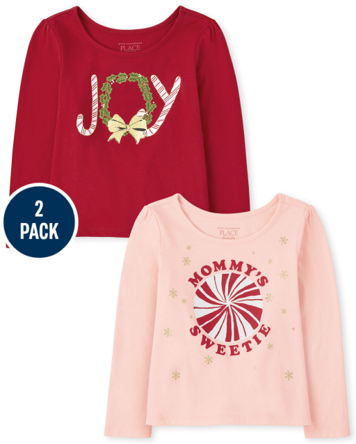 Toddler Girls Long Sleeve 'Joy' And 'Mommy's Sweetie' Graphic Christmas Holiday Top 2-Pack