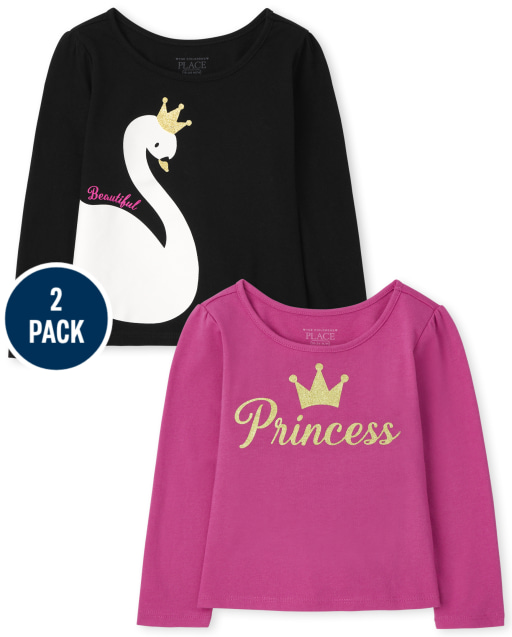 Toddler Girls Long Sleeve 'Princess' And Swan Graphic Top 2-Pack
