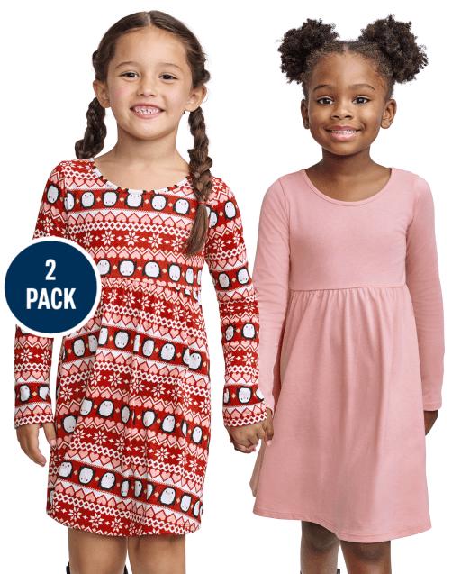 Toddler Girls Long Sleeve Penguin Fairisle And Solid Holiday Knit Skater Dress 2-Pack