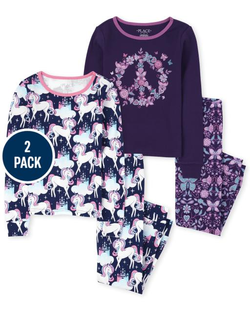 Paquete de 2 pijamas de algodón ajustados con diseño de unicornio y signo de la paz para niñas
