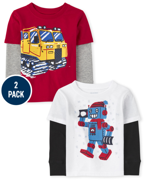 Toddler Boys Long Thermal Sleeve Graphic 2 In 1 Top 2-Pack