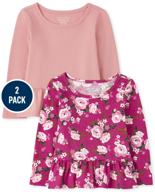 Toddler Girls Long Sleeve Solid And Floral Print Peplum Top 2-Pack