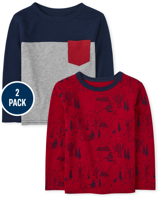 Toddler Boys Long Sleeve Forest Print Top And Colorblock Pocket Top 2-Pack