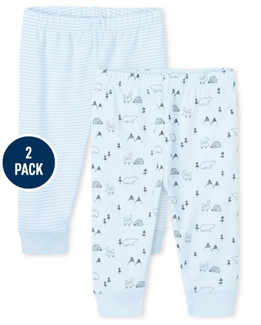 Baby Boys Polar Bear And Striped Knit Pants 2-Pack