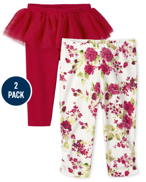 Baby Girls Floral Print And Tutu Knit Leggings 2-Pack
