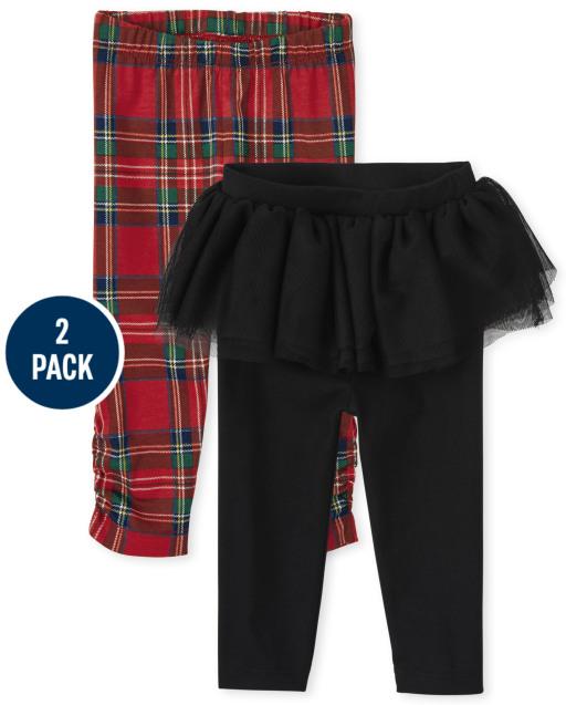 Baby Girls Plaid Print And Tutu Knit Leggings 2-Pack