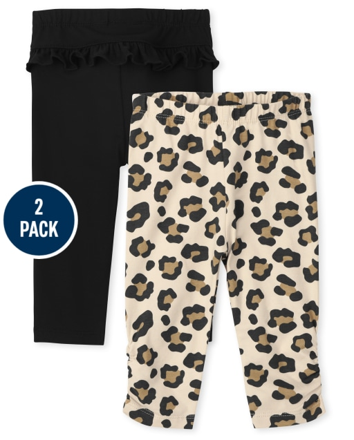 Baby Girls Leopard Print And Solid Ruffle Knit Leggings 2-Pack