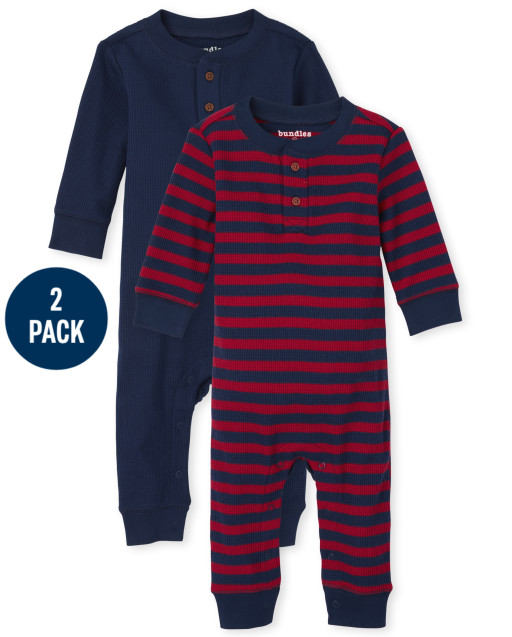 Baby Boys Long Sleeve Striped Thermal Romper 2-Pack