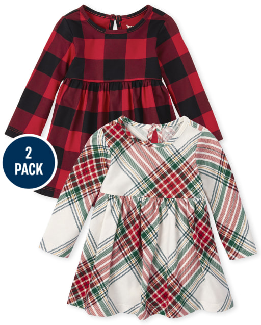 Baby Girls Long Sleeve Buffalo Plaid And Plaid Knit Bodysuit Dress 2-Pack