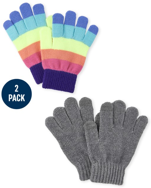 Girls Rainbow Striped Texting Gloves 2-Pack