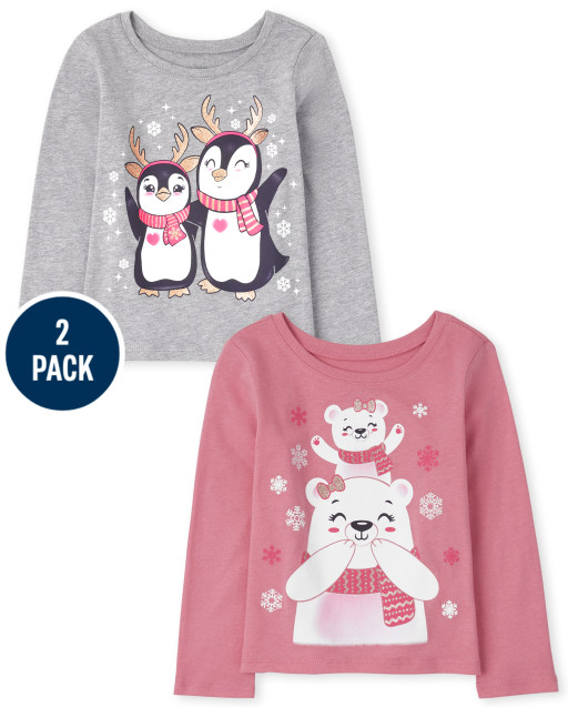 Toddler Girls Long Sleeve Penguin And Polar Bear Graphic Tee 2-Pack
