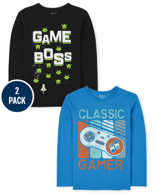 Boys Long Sleeve 'Classic Gamer' And 'Game Boss' Tee 2-Pack