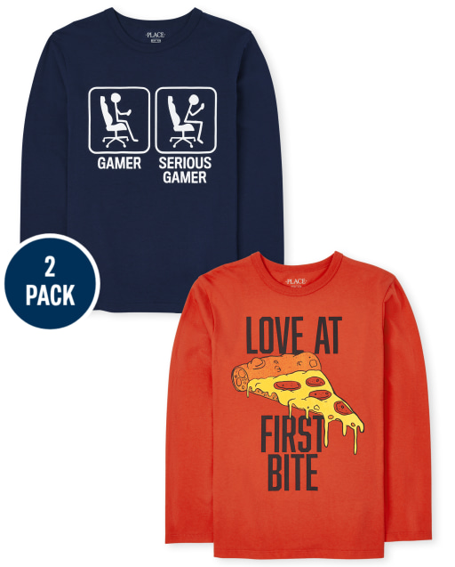 Boys Long Sleeve 'Gamer Serious Gamer' And 'Love At First Bite' Graphic Tee 2-Pack