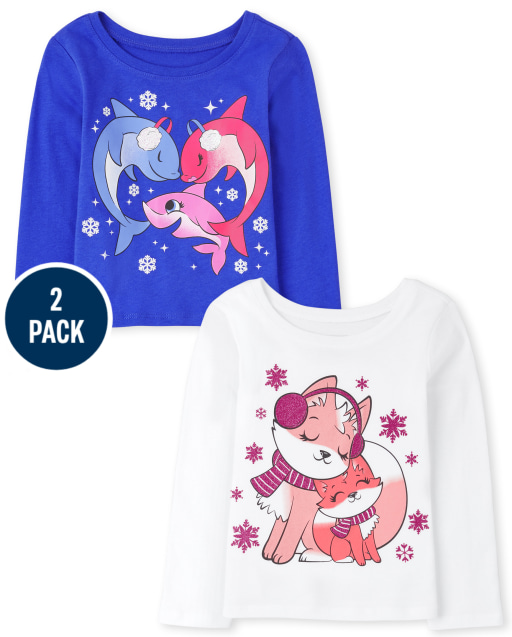 Toddler Girls Long Sleeve Shark And Fox Graphic Tee 2-Pack