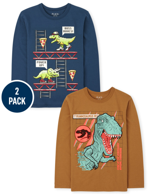 Boys Long Sleeve 'Tyrannosaurus Rex' And Dino Video Game Graphic Tee 2-Pack