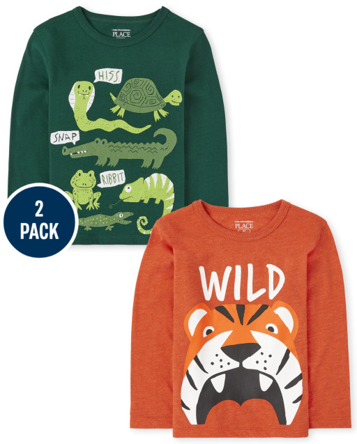 Toddler Boys Long Sleeve 'Wild' And 'Hiss, Snap, Ribbit' Graphic Tee 2-Pack