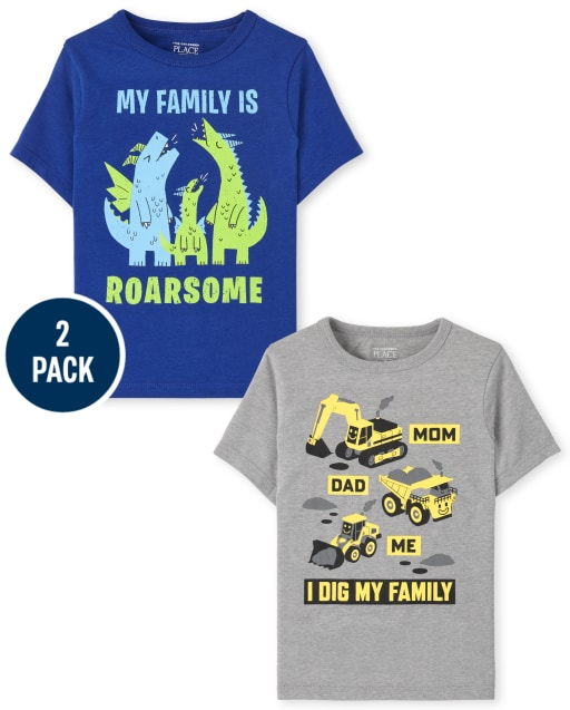 Toddler Boys Short Sleeve 'I Dig My Family' And 'My Family Is Roarsome' Graphic Tee 2-Pack